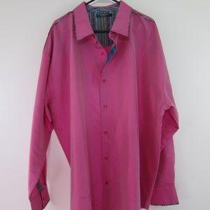 Coogie Silk Shirt Mens 4XL Pink Big Long Sleeve